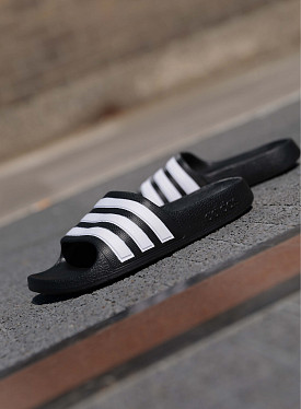 Adilette aqua slides Black/White PS