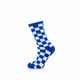 Checkerboard Crew Socks Victoria Blue/White