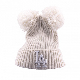 Cuff Knit Double Pom LA Dodgers White Youth