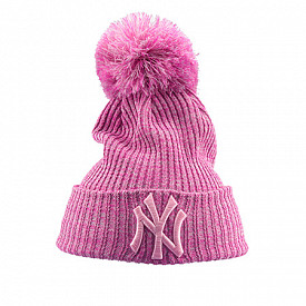 Cuff Knit Pom NY Yankees Pink Youth