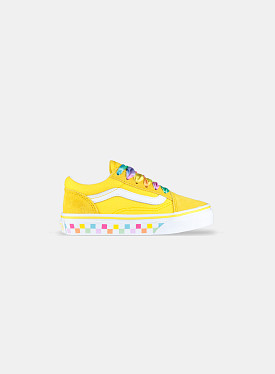 Old Skool Rainbow Lace Cyber Yellow White PS