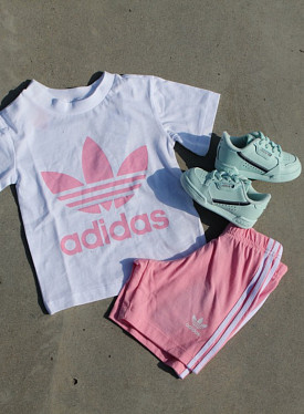 Short Tee Set White/Pink TS