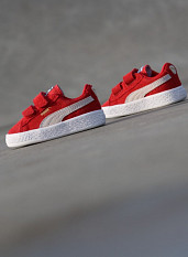 Suede Red/White Velcro TS