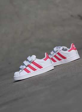 Superstar White/Real-pink strap TS