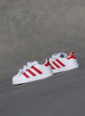 Superstar White/Red Velcro TS