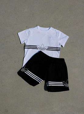T-shirt Set Outlined White/Black TS