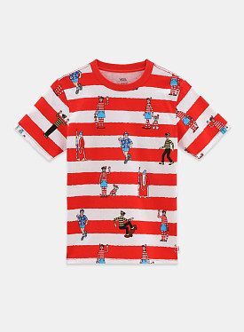 X Where's Waldo? Stripe T-shirt White Racing Red GS