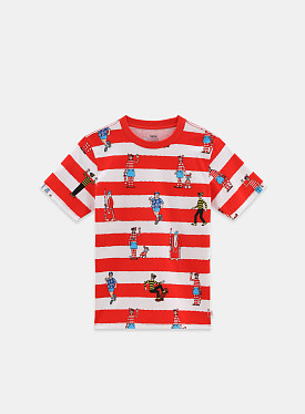 X Where's Waldo? Stripe T-shirt White Racing Red TD PS